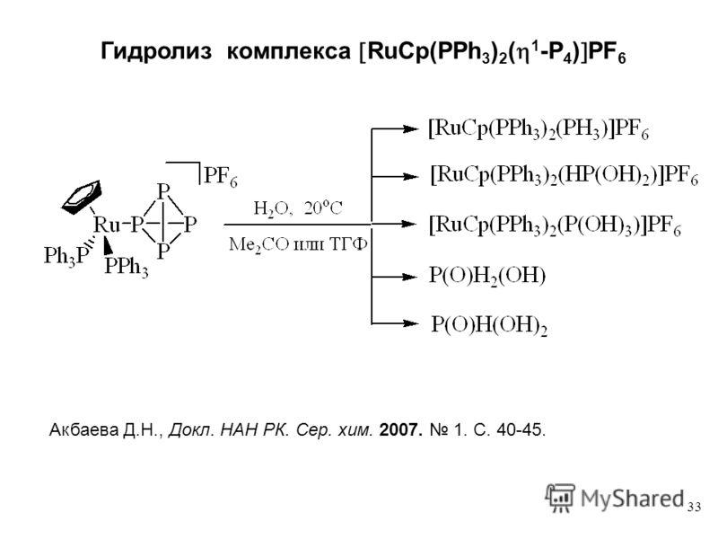 33 Гидролиз комплекса RuСр(PPh 3 ) 2 ( 1 -P 4 ) PF 6 Акбаева Д.Н., Докл. НАН РК. Сер. хим. 2007. 1. C. 40-45.