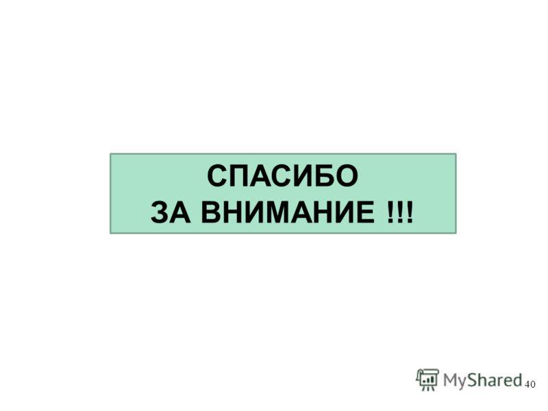 40 СПАСИБО ЗА ВНИМАНИЕ !!!