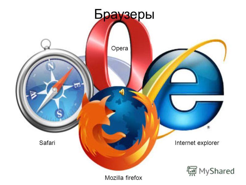 Браузеры Mozilla firefox Internet explorer Safari Opera