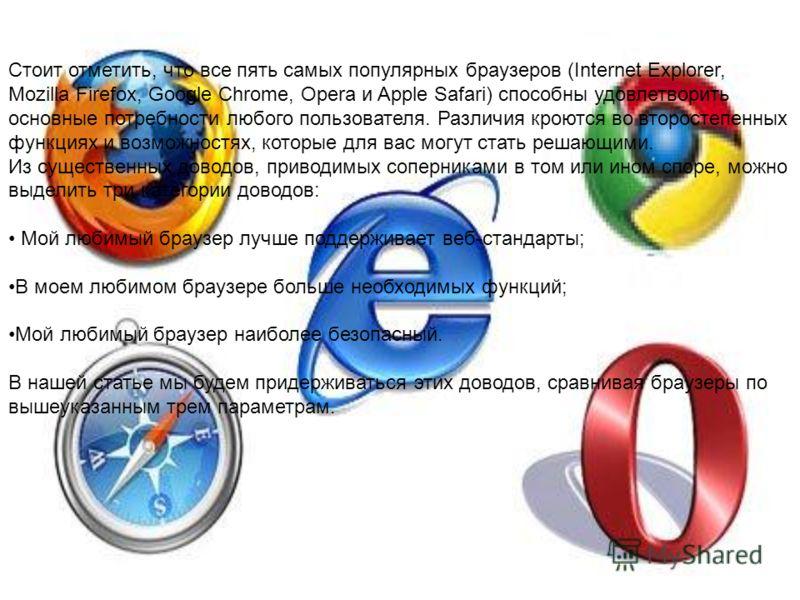 Стоит отметить, что все пять самых популярных браузеров (Internet Explorer, Mozilla Firefox, Google Chrome, Opera и Apple Safari) способны удовлетворить основные потребности любого пользователя. Различия кроются во второстепенных функциях и возможнос