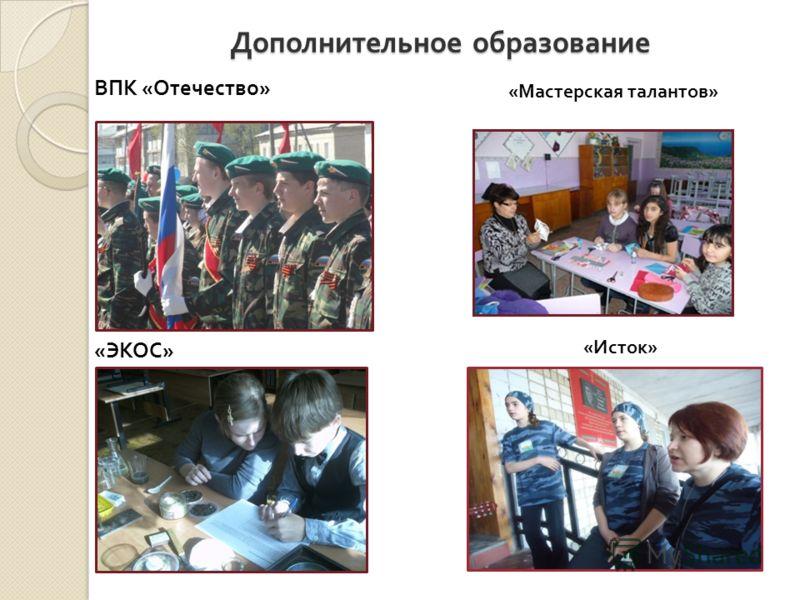 Дополнительное образование ВПК « Отечество » « ЭКОС » «Мастерская талантов» «Исток»