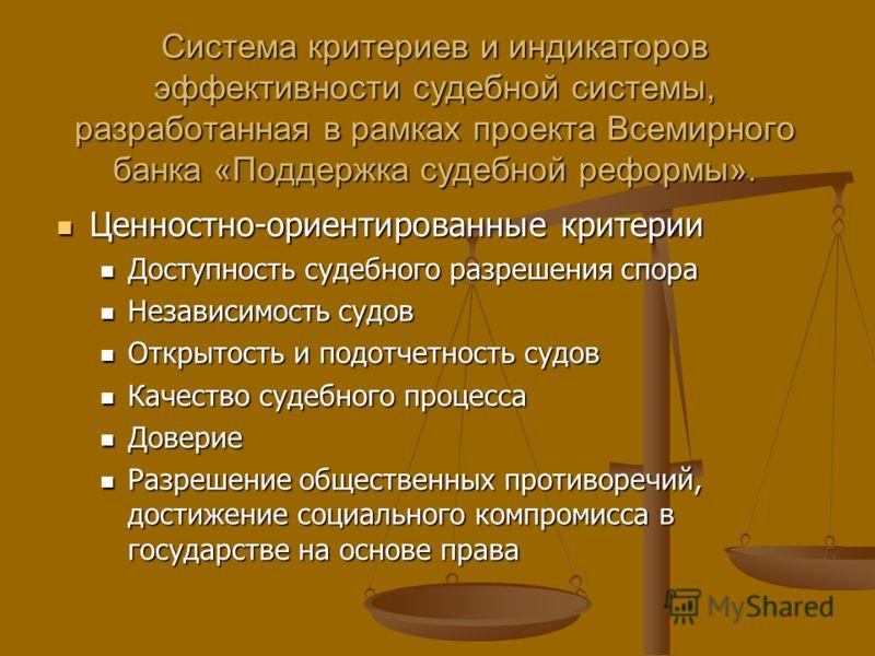Система критериев и индикаторов эффективности судебной системы, разработанная в рамках проекта Всемирного банка «Поддержка судебной реформы». Ценностно-ориентированные критерии Ценностно-ориентированные критерии Доступность судебного разрешения спора