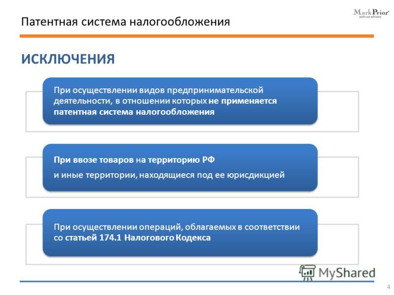 ИСКЛЮЧЕНИЯ Патентная система налогообложения При осуществлении видов предпринимательской деятельности, в отношении которых не применяется патентная система налогообложения При ввозе товаров на территорию РФ и иные территории, находящиеся под ее юрисд