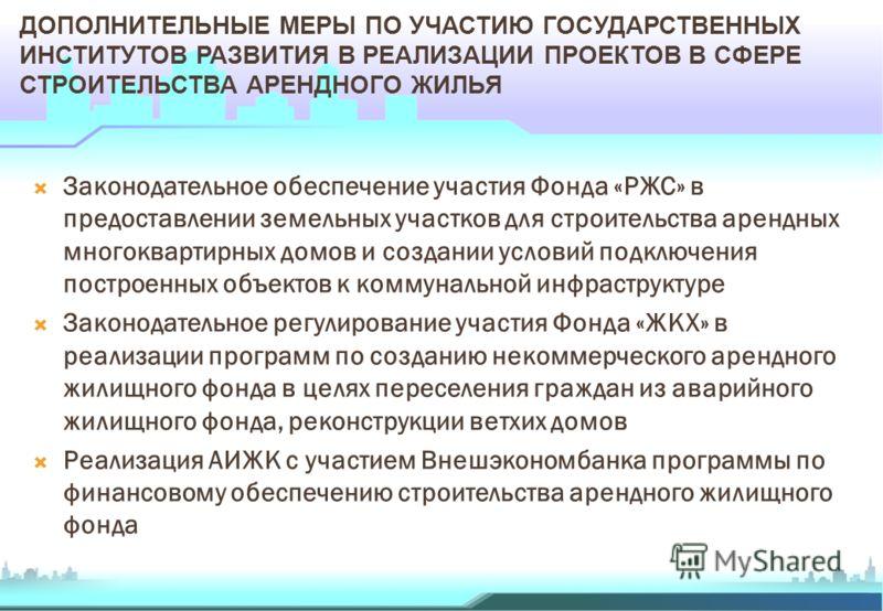 ДОПОЛНИТЕЛЬНЫЕ МЕРЫ ПО УЧАСТИЮ ГОСУДАРСТВЕННЫХ ИНСТИТУТОВ РАЗВИТИЯ В РЕАЛИЗАЦИИ ПРОЕКТОВ В СФЕРЕ СТРОИТЕЛЬСТВА АРЕНДНОГО ЖИЛЬЯ Законодательное обеспечение участия Фонда «РЖС» в предоставлении земельных участков для строительства арендных многоквартир