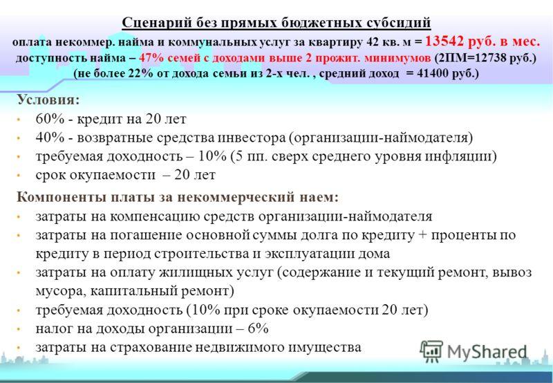 Сценарий без прямых бюджетных субсидий оплата некоммер. найма и коммунальных услуг за квартиру 42 кв. м = 13542 руб. в мес. доступность найма – 47% семей с доходами выше 2 прожит. минимумов (2ПМ=12738 руб.) (не более 22% от дохода семьи из 2-х чел.,