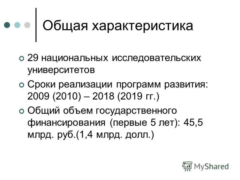 Общая характеристика 29 национальных исследовательских университетов Сроки реализации программ развития: 2009 (2010) – 2018 (2019 гг.) Общий объем государственного финансирования (первые 5 лет): 45,5 млрд. руб.(1,4 млрд. долл.)