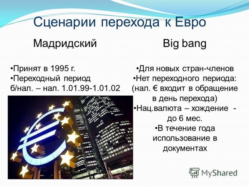 Big bang Для новых стран-членов Нет переходного периода: (нал. входит в обращение в день перехода) Нац.валюта – хождение - до 6 мес. В течение года использование в документах Мадридский Принят в 1995 г. Переходный период б/нал. – нал. 1.01.99-1.01.02