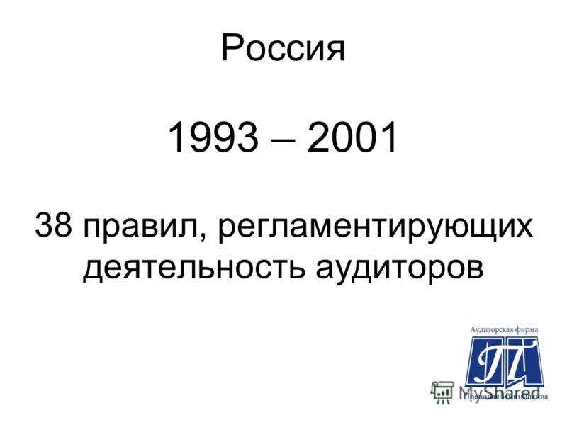 Россия 1993 – 2001 38 правил, регламентирующих деятельность аудиторов