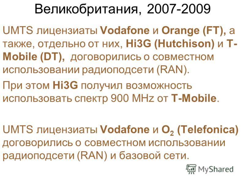 Великобритания, 2007-2009 UMTS лицензиаты Vodafone и Orange (FT), а также, отдельно от них, Hi3G (Hutchison) и T- Mobile (DT), договорились о совместном использовании радиоподсети (RAN). При этом Hi3G получил возможность использовать спектр 900 MHz о