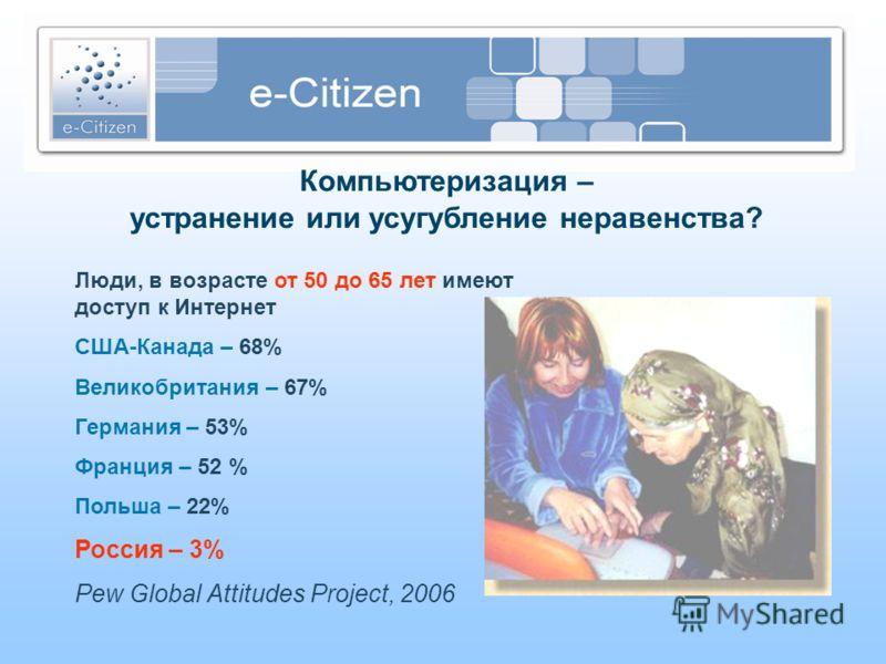 Компьютеризация – устранение или усугубление неравенства? Люди, в возрасте от 50 до 65 лет имеют доступ к Интернет США-Канада – 68% Великобритания – 67% Германия – 53% Франция – 52 % Польша – 22% Россия – 3% Pew Global Attitudes Project, 2006