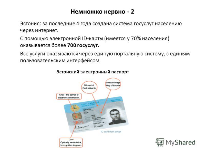 Немножко нервно - 2 Эстония: за последние 4 года создана система госуслуг населению через интернет. С помощью электронной ID-карты (имеется у 70% населения) оказывается более 700 госуслуг. Все услуги оказываются через единую портальную систему, с еди
