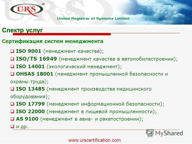 ISO 9001 (менеджмент качества); ISO/TS 16949 (менеджмент качества в автомобилестроении); ISO 14001 (экологический менеджмент); OHSAS 18001 (менеджмент промышленной безопасности и охраны труда); ISO 13485 (менеджмент производства медицинского оборудов