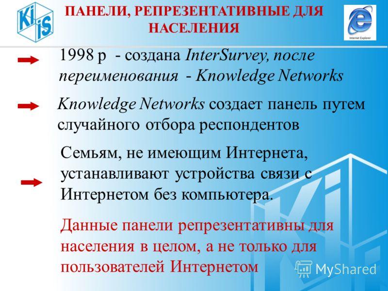 1998 р - создана InterSurvey, после переименования - Knowledge Networks Knowledge Networks создает панель путем случайного отбора респондентов Семьям, не имеющим Интернета, устанавливают устройства связи с Интернетом без компьютера. Данные панели реп