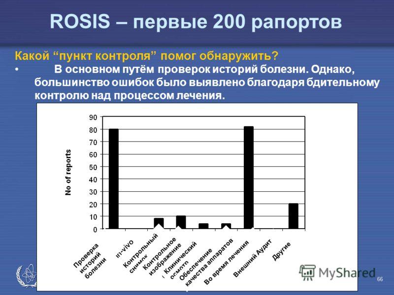 IAEA Предотвращение ошибок в лучевой терапии 66 Какой пункт контроля помог обнаружить? В основном путём проверок историй болезни. Однако, большинство ошибок было выявлено благодаря бдительному контролю над процессом лечения. ROSIS – первые 200 рапорт