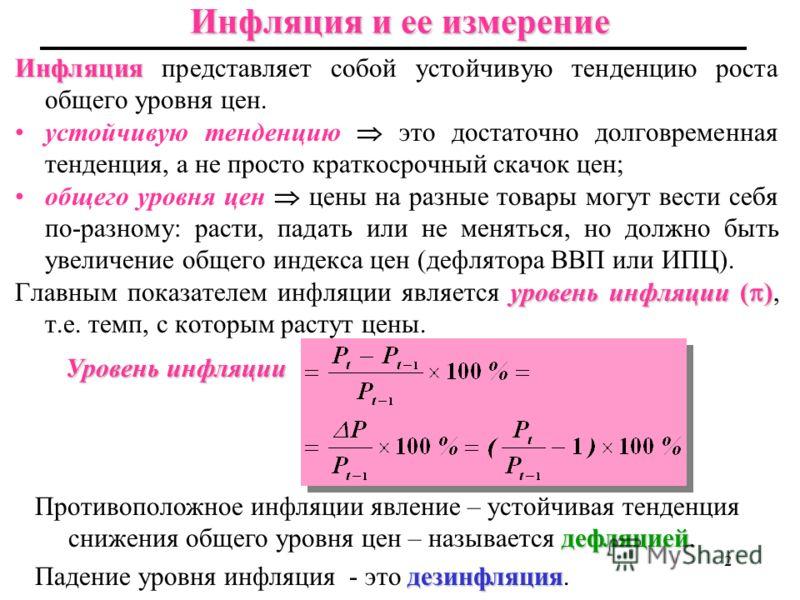 11 Инфляция Лекция 11 Инфляция Инфляция и ее темпы Причины инфляции Уравнение количественной теории денег и инфляция Издержки инфляции Ожидаемая и непредвиденная инфляция Гиперинфляция 1