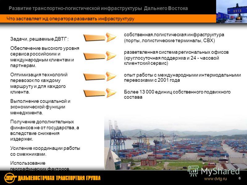 www.dvtg.ru Развитие транспортно-логистической инфраструктуры Дальнего Востока 6 Что заставляет жд оператора развивать инфраструктуру собственная логистическая инфраструктура (порты, логистические терминалы, СВХ) разветвленная система региональных оф
