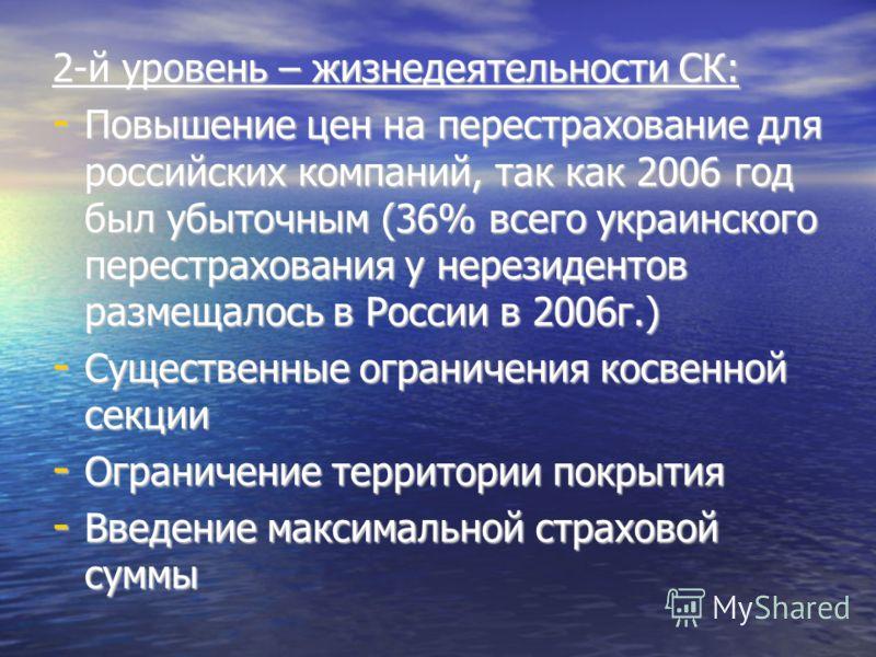 2-й уровень – жизнедеятельности СК: - Повышение цен на перестрахование для российских компаний, так как 2006 год был убыточным (36% всего украинского перестрахования у нерезидентов размещалось в России в 2006г.) - Существенные ограничения косвенной с