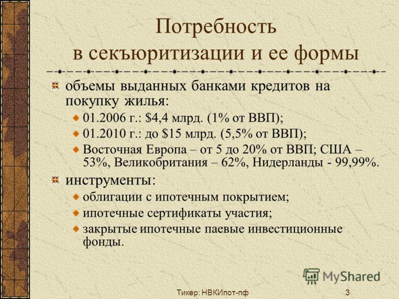 Тикер: НВКИпот-пф3 Потребность в секъюритизации и ее формы объемы выданных банками кредитов на покупку жилья: 01.2006 г.: $4,4 млрд. (1% от ВВП); 01.2010 г.: до $15 млрд. (5,5% от ВВП); Восточная Европа – от 5 до 20% от ВВП; США – 53%, Великобритания