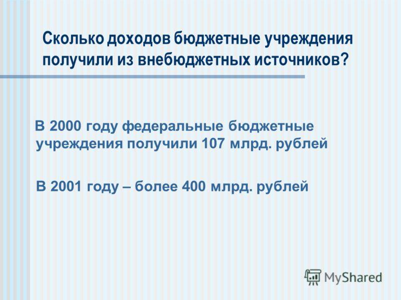Сколько доходов бюджетные учреждения получили из внебюджетных источников? В 2000 году федеральные бюджетные учреждения получили 107 млрд. рублей В 2001 году – более 400 млрд. рублей