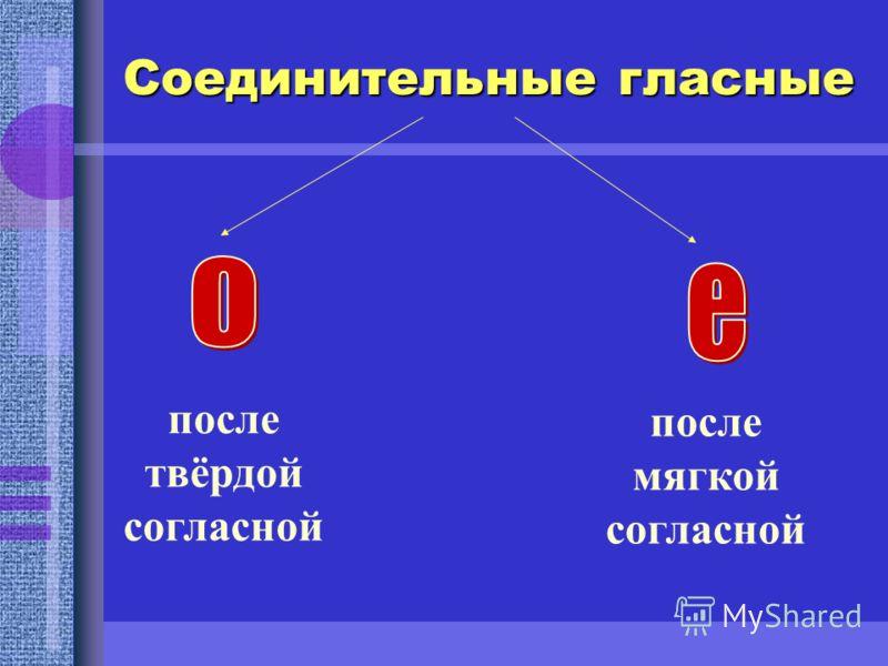 Соединительные гласные после твёрдой согласной после мягкой согласной