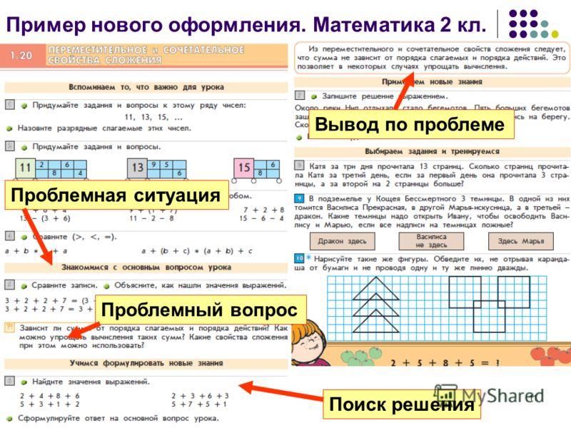 11 Пример нового оформления. Математика 2 кл. Проблемная ситуация Проблемный вопрос Вывод по проблеме Поиск решения