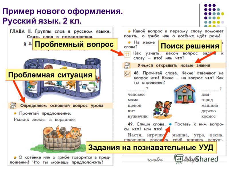 12 Пример нового оформления. Русский язык. 2 кл. Проблемная ситуация Проблемный вопрос Задания на познавательные УУД Поиск решения