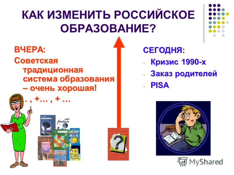2 КАК ИЗМЕНИТЬ РОССИЙСКОЕ ОБРАЗОВАНИЕ? ВЧЕРА: Советская традиционная система образования – очень хорошая! +…, +…, + … СЕГОДНЯ: - Кризис 1990-х - Заказ родителей - PISA
