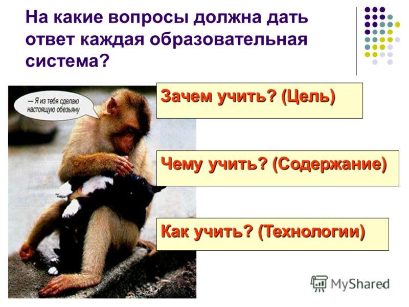 4 На какие вопросы должна дать ответ каждая образовательная система? Чему учить? (Содержание) Как учить? (Технологии) Зачем учить? (Цель)