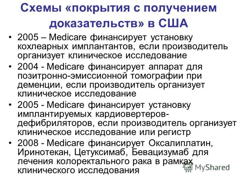 Схемы «покрытия с получением доказательств» в США 2005 – Medicare финансирует установку кохлеарных имплантантов, если производитель организует клиническое исследование 2004 - Medicare финансирует аппарат для позитронно-эмиссионной томографии при деме