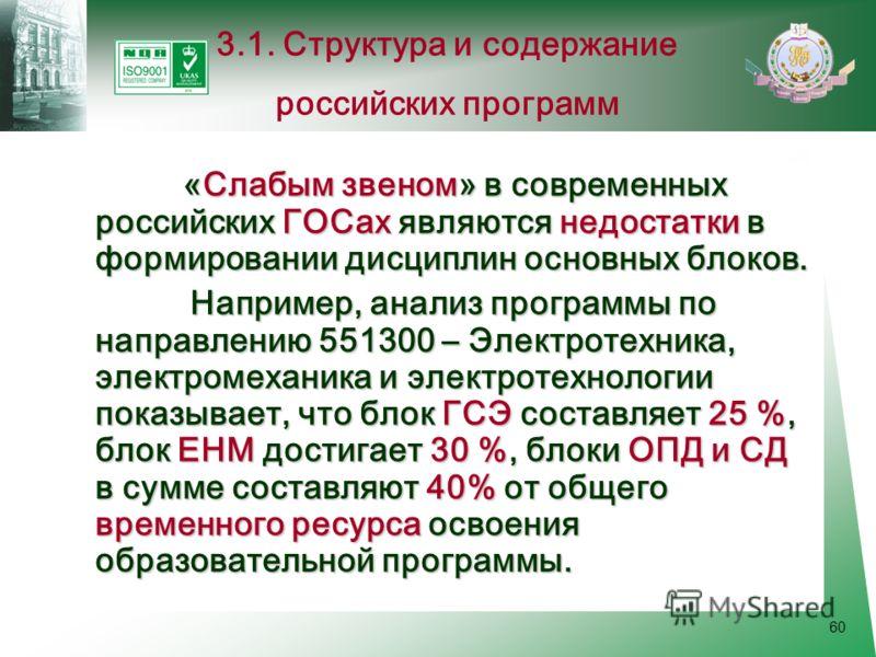 60 «Слабым звеном» в современных российских ГОСах являются недостатки в формировании дисциплин основных блоков. Например, анализ программы по направлению 551300 – Электротехника, электромеханика и электротехнологии показывает, что блок ГСЭ составляет