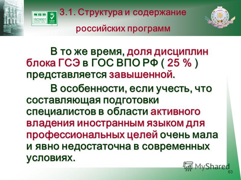 63 В то же время, доля дисциплин блока ГСЭ в ГОС ВПО РФ ( 25 % ) представляется завышенной. В особенности, если учесть, что составляющая подготовки специалистов в области активного владения иностранным языком для профессиональных целей очень мала и я
