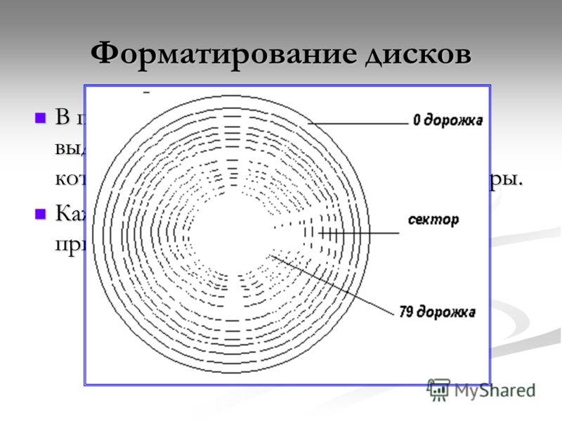 Форматирование дисков В процессе форматирования на диске выделяются концентрические дорожки, которые, в свою очередь, делятся на секторы. В процессе форматирования на диске выделяются концентрические дорожки, которые, в свою очередь, делятся на секто
