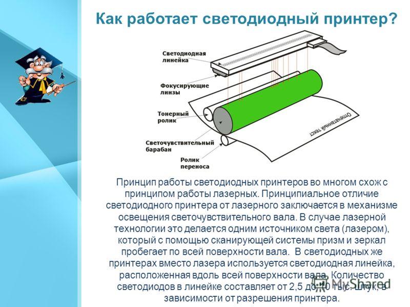 Светодиодный принтер (англ. light emitting diode printer, LED printer) один из видов принтеров, являющий собой параллельную ветвь развития технологии лазерной печати. Принципиальное отличие светодиодного принтера от лазерного заключается в механизме