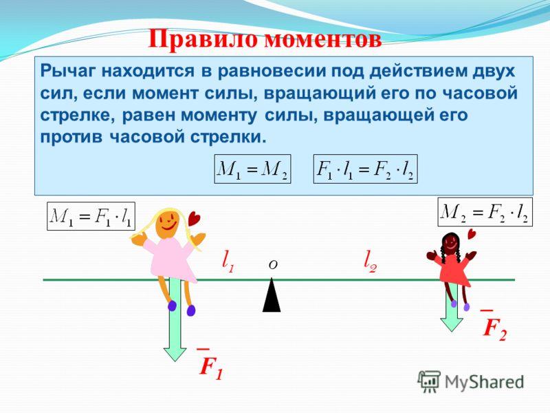 Правило моментов _F1_F1 O _F2_F2 Рычаг находится в равновесии под действием двух сил, если момент силы, вращающий его по часовой стрелке, равен моменту силы, вращающей его против часовой стрелки. l1l1 l2l2