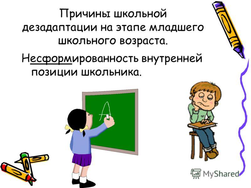 Причины школьной дезадаптации на этапе младшего школьного возраста. Несформированность внутренней позиции школьника.