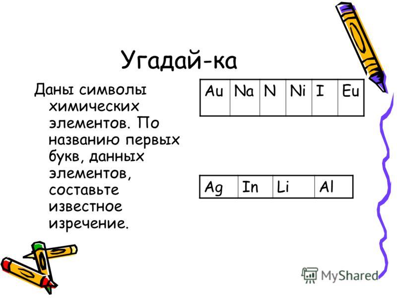 Угадай-ка Даны символы химических элементов. По названию первых букв, данных элементов, составьте известное изречение. AuNaNNiIEu AgInLiAl