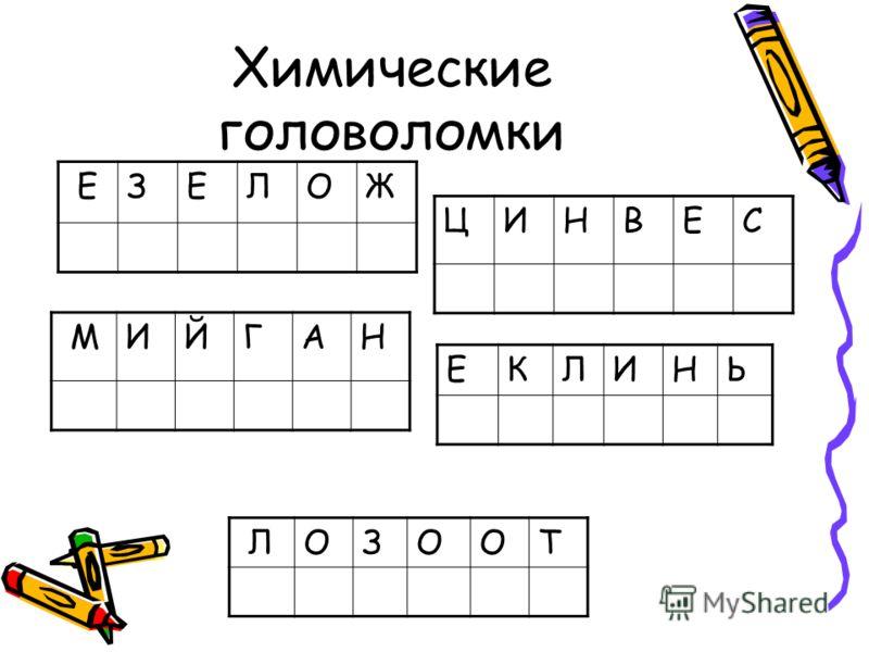 Химические головоломки ЦИНВЕС ЕКЛИНЬ ЕЗЕЛОЖ МИЙГАН ЛОЗООТ