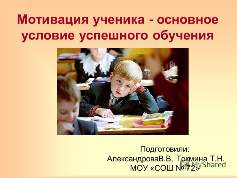 Подготовили: АлександроваВ.В, Токмина Т.Н. МОУ «СОШ 72» Мотивация ученика - основное условие успешного обучения