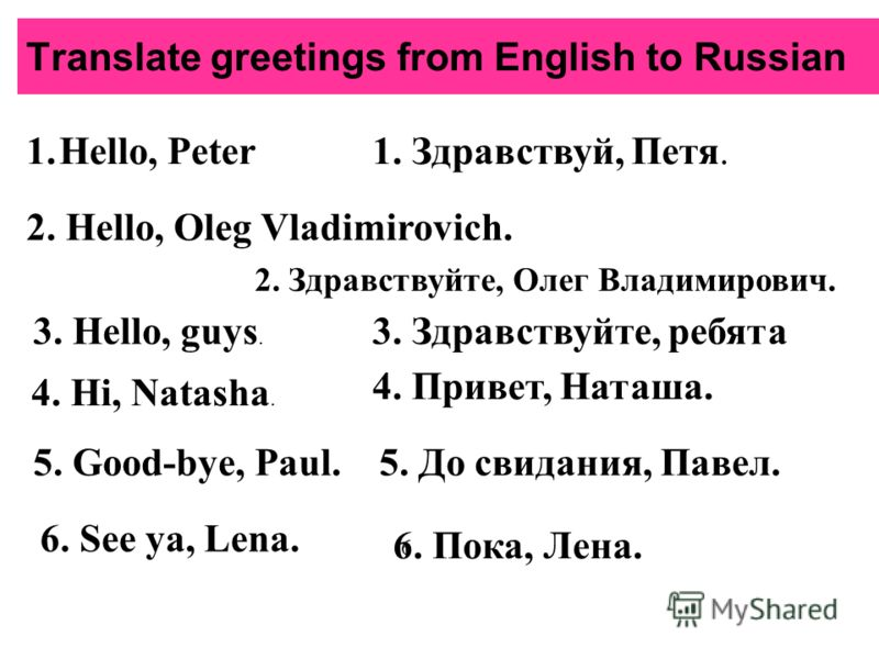 Translate greetings from English to Russian 1.Hello, Peter1. Здравствуй, Петя. 2. Hello, Oleg Vladimirovich. 2. Здравствуйте, Олег Владимирович. 3. Hello, guys. 3. Здравствуйте, ребята 4. Hi, Natasha. 4. Привет, Наташа. 5. Good-bye, Paul.5. До свидан