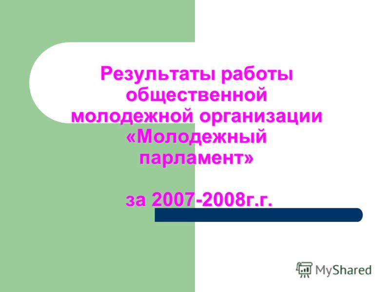 Результаты работы общественной молодежной организации «Молодежный парламент» за 2007-2008г.г.