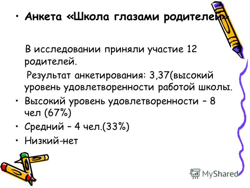 Анкета «Школа глазами родителей» В исследовании приняли участие 12 родителей. Результат анкетирования: 3,37(высокий уровень удовлетворенности работой школы. Высокий уровень удовлетворенности – 8 чел (67%) Средний – 4 чел.(33%) Низкий-нет