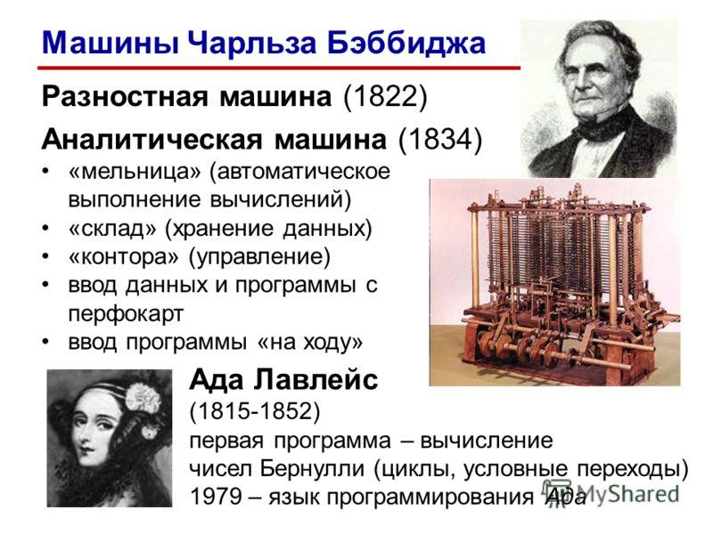 Разностная машина (1822) Аналитическая машина (1834) «мельница» (автоматическое выполнение вычислений) «склад» (хранение данных) «контора» (управление) ввод данных и программы с перфокарт ввод программы «на ходу» Ада Лавлейс (1815-1852) первая програ