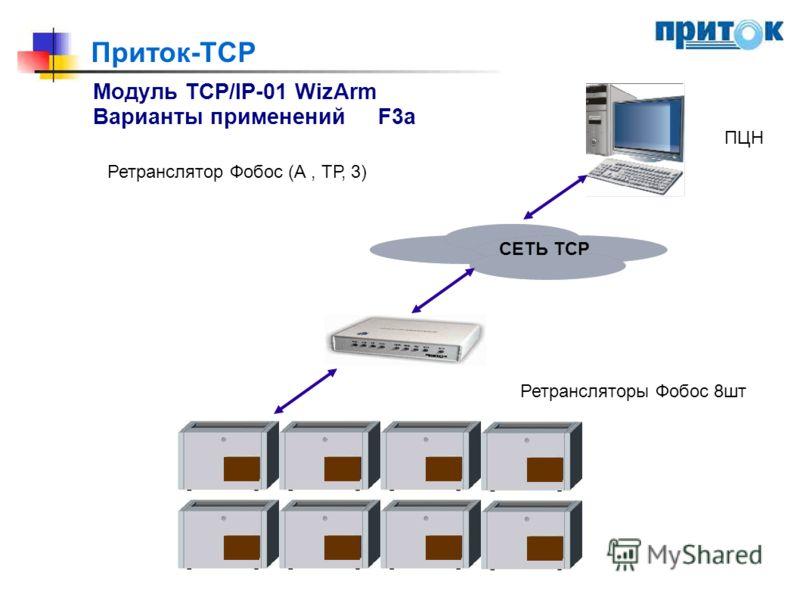 Приток-TCP Модуль TCP/IP-01 WizArm Варианты примененийF3a Ретранслятор Фобос (А, ТР, 3) ПЦН СЕТЬ ТСР Ретрансляторы Фобос 8шт