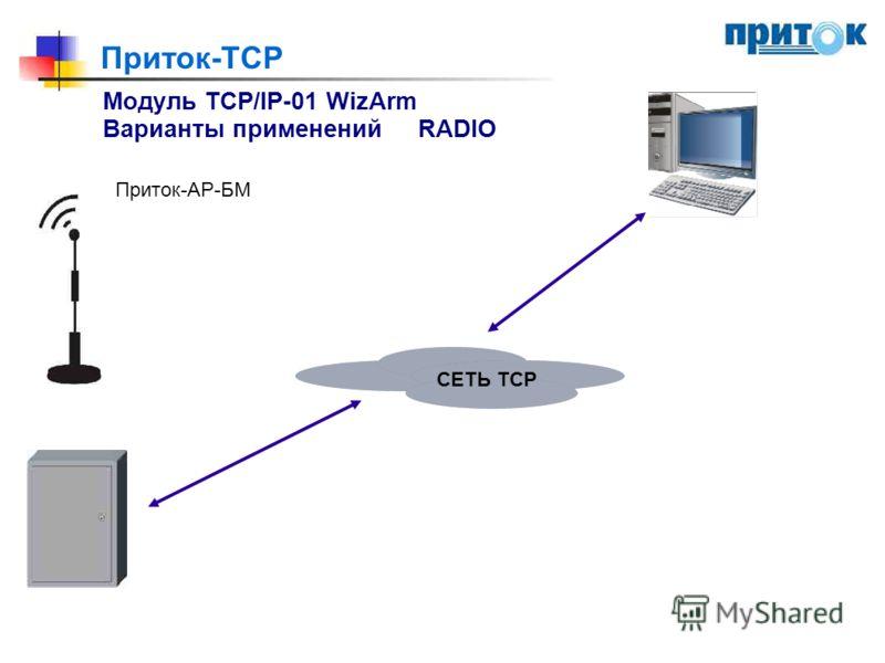 Приток-TCP Модуль TCP/IP-01 WizArm Варианты примененийRADIO Приток-АР-БМ СЕТЬ ТСР