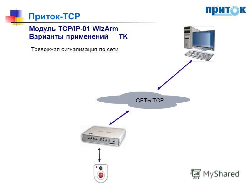 Приток-TCP Модуль TCP/IP-01 WizArm Варианты примененийTK Тревожная сигнализация по сети СЕТЬ ТСР СЕТЬ TCP