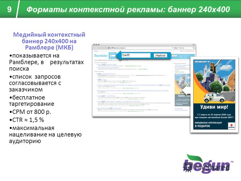 9 Форматы контекстной рекламы: баннер 240x400 Медийный контекстный баннер 240x400 на Рамблере (МКБ) показывается на Рамблере, в результатах поиска список запросов согласовывается с заказчиком бесплатное таргетирование CPM от 800 р. CTR 1,5 % максимал