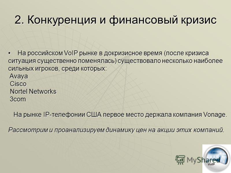 На российском VoIP рынке в докризисное время (после кризиса ситуация существенно поменялась) существовало несколько наиболее сильных игроков, среди которых: Avaya Cisco Nortel Networks 3com На рынке IP-телефонии США первое место держала компания Vona