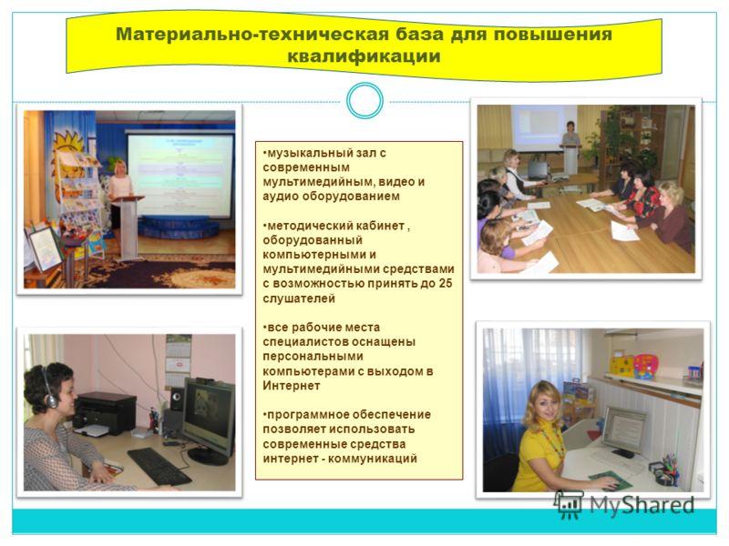 Материально-техническая база для повышения квалификации музыкальный зал с современным мультимедийным, видео и аудио оборудованием методический кабинет, оборудованный компьютерными и мультимедийными средствами с возможностью принять до 25 слушателей в