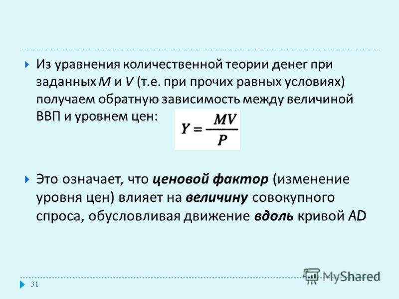 Из уравнения количественной теории денег при заданных М и V ( т. е. при прочих равных условиях ) получаем обратную зависимость между величиной ВВП и уровнем цен : Это означает, что ценовой фактор ( изменение уровня цен ) влияет на величину совокупног