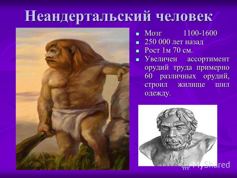 Неандертальский человек Мозг1100-1600 Мозг1100-1600 250 000 лет назад 250 000 лет назад Рост 1м 70 см. Рост 1м 70 см. Увеличен ассортимент орудий труда примерно 60 различных орудий, строил жилище шил одежду. Увеличен ассортимент орудий труда примерно